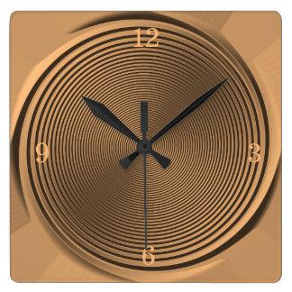 金ゴールドか黒の渦巻のデザインの>Wallの時計 スクエア壁時計