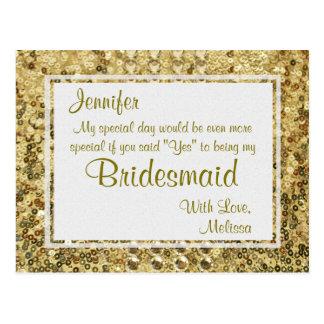 金ゴールドきらきら光るな 私の新婦付添人ですか。 ポストカード