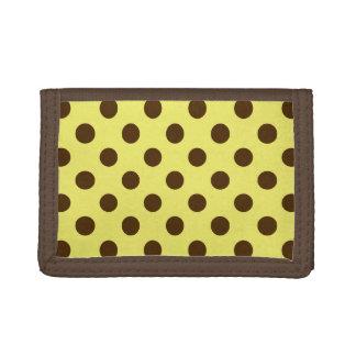 金ゴールドでチョコレート色の大きいレトロの点-