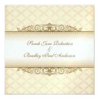 金ゴールドによってキルトにされるプリントのバロックの結婚式招待状 カード