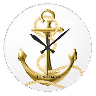 金ゴールドのいかりの名前入りな航海のな柱時計 ラージ壁時計