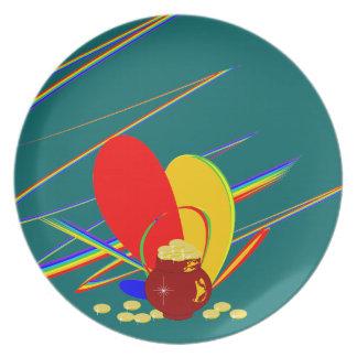 金ゴールドのお金angの魔法の虹のプレート プレート