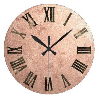 金ゴールドのばら色の金ゴールドの銅汚い青銅色のローマのNumers ラージ壁時計