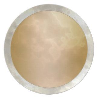 金ゴールドのばら色の銀によって大理石模様をつけられるメラミンプレート ディナープレート