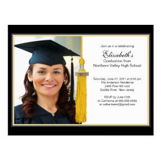 金ゴールドのふさの写真の卒業のパーティの招待状2012年 ポストカード