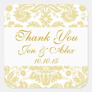 金ゴールドのアイボリーのダマスク織の結婚式の引き出物 スクエアシール