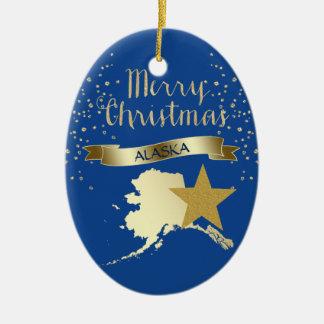 金ゴールドのアラスカの青い星 セラミックオーナメント