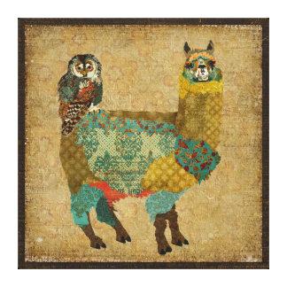 金ゴールドのアルパカ及びティール(緑がかった色)のフクロウのキャンバス キャンバスプリント