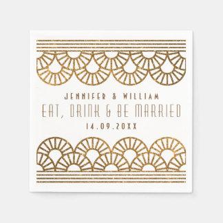 金ゴールドのアールデコの結婚披露宴のCockatilのナプキン スタンダードカクテルナプキン