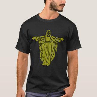 金ゴールドのイエス・キリストのエアブラシの芸術のティー Tシャツ