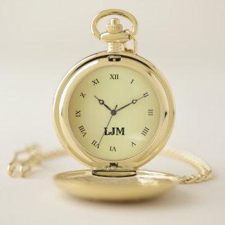 金ゴールドのイメージの壊中時計が付いているモノグラム、金ゴールドの包装 ポケットウォッチ