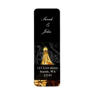 金ゴールドのエッフェル塔のフランスのな結婚式 ラベル