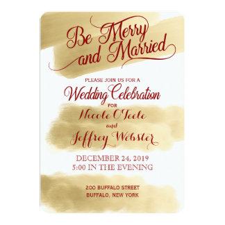 金ゴールドのエレガントなクリスマスの休日の結婚式招待状 12.7 X 17.8 インビテーションカード