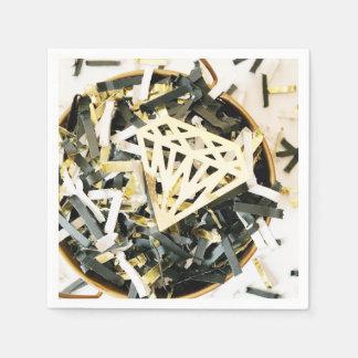 金ゴールドのエレガントなダイヤモンドの紙吹雪の結婚式のナプキン スタンダードカクテルナプキン