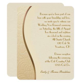 金ゴールドのエンボスの結婚式誓約の更新 カード