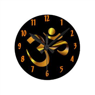 金ゴールドのオウム ラウンド壁時計