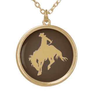 金ゴールドのカウボーイの強く反対する馬 ゴールドプレートネックレス