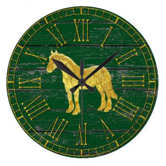 金ゴールドのガラス一見の馬あなたの色によって風化させる木 ラージ壁時計