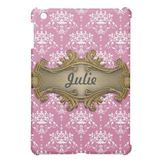 金ゴールドのガーリーなGawdyのピンクおよび白いダマスク織 iPad Mini Case