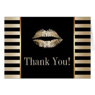 金ゴールドのキスのモダンな黒及び金ゴールドのストライプは感謝していしています カード