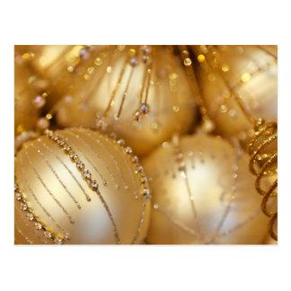 金ゴールドのクリスマスのオーナメント ポストカード