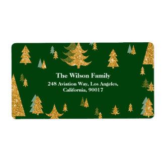 金ゴールドのクリスマスツリーの宛名ラベル ラベル