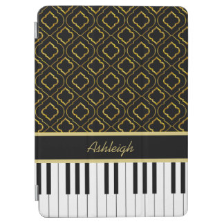 金ゴールドのクローバーが付いているエレガントでカスタムなピアノ鍵 iPad AIR カバー