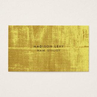 金ゴールドのグランジなヘアーサロンのスタイリストのアポイントメントカード 名刺