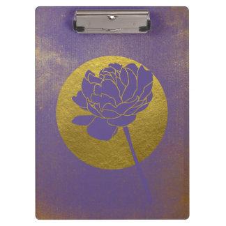 金ゴールドのグランジな、紫外花の名前入り クリップボード
