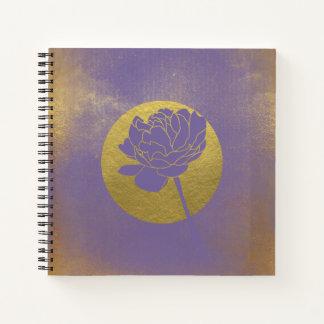 金ゴールドのグランジな、紫外花柄 ノートブック