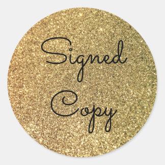 金ゴールドのグリッターによって署名されるコピー ラウンドシール