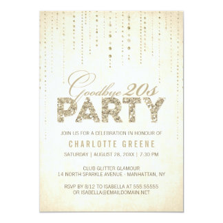 金ゴールドのグリッターのさようなら20s誕生日の招待状 カード