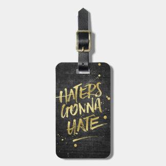金ゴールドのグリッターのグランジな黒板を憎むことを行っている嫌悪症 ラゲッジタグ