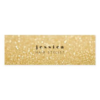 金ゴールドのグリッターのコンテンポラリーな美容師の細いカード スキニー名刺