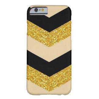 金ゴールドのグリッターのシェブロンの黒いiPhone6ケース Barely There iPhone 6 ケース