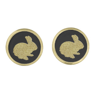 金ゴールドのグリッターのシルエットのイースターのウサギのカフスボタン ゴールド カフスボタン