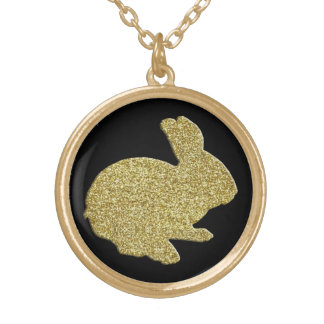 金ゴールドのグリッターのシルエットのイースターのウサギのネックレス ゴールドプレートネックレス