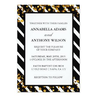 金ゴールドのグリッターのストライプな結婚式招待状カード 12.7 X 17.8 インビテーションカード