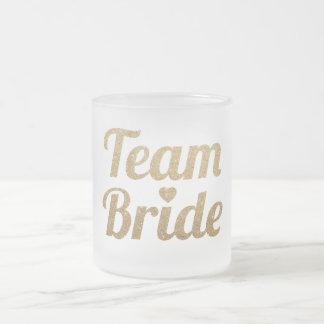 金ゴールドのグリッターのチーム花嫁のバチェロレッテによって曇らされるマグ フロストグラスマグカップ