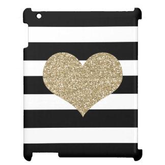 金ゴールドのグリッターのハートのカスタムなiPadの場合 iPad Case