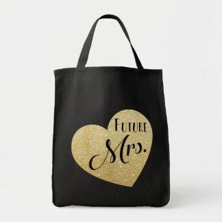 金ゴールドのグリッターのハートの上品のフォントを持つ未来の夫人 トートバッグ