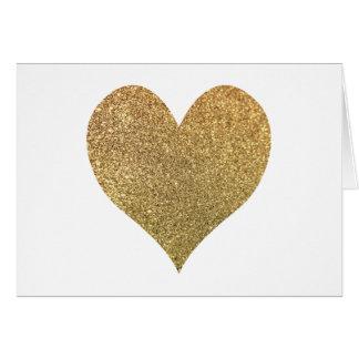 金ゴールドのグリッターのハートは感謝していしています ノートカード