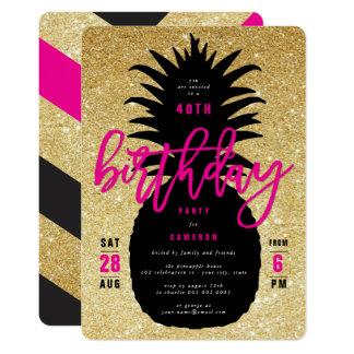 金ゴールドのグリッターのパイナップルシックな誕生会の招待 カード