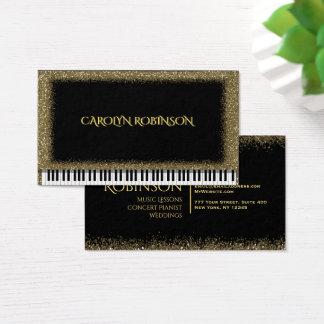 金ゴールドのグリッターのピアノ 名刺