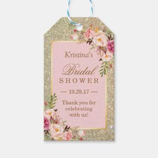 金ゴールドのグリッターのピンクの花のブライダルシャワーは感謝していしています ギフトタグ
