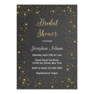 金ゴールドのグリッターのブライダルシャワーの招待状 カード