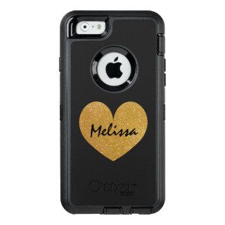 金ゴールドのグリッターのプリントのiPhone 6のOtterboxのカスタムな場合 オッターボックスディフェンダーiPhoneケース