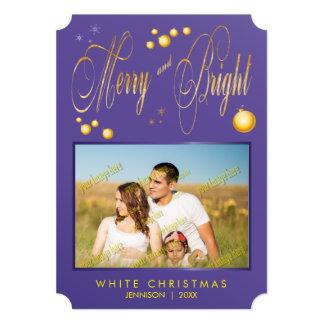 金ゴールドのグリッターのメリーで、明るい家族写真 カード