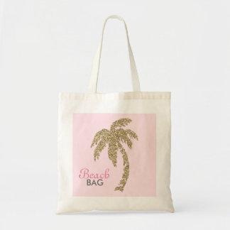 金ゴールドのグリッターのヤシの木のビーチのバッグの綿のトート トートバッグ