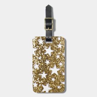 金ゴールドのグリッターの一見の星 ラゲッジタグ